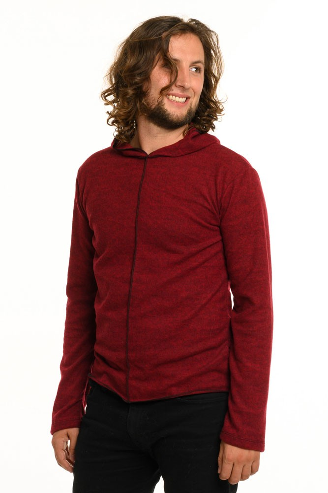 Red Knit Long Sleeve Men's Top