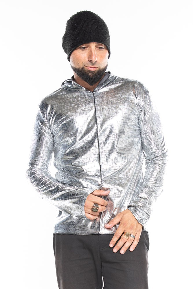 Silver Metallic Crackle Long Sleeve Men's Top