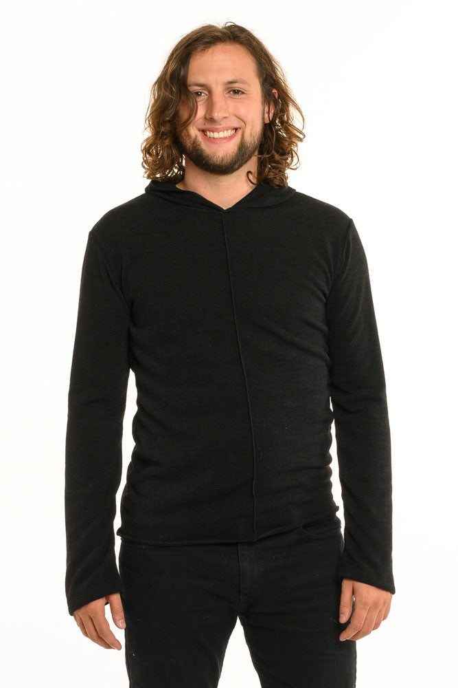 Solid Black Long Sleeve Men's Top