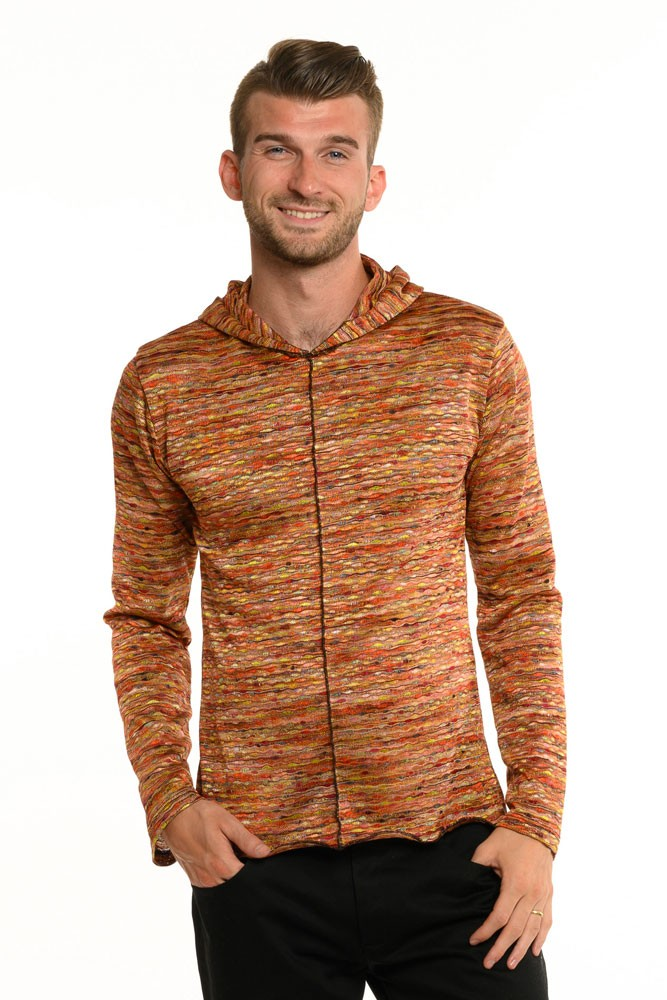 Sunset Multi Stripe Knit Long Sleeve Men's Top