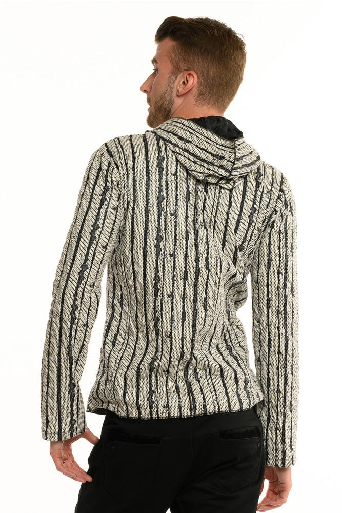 White Lava Stripe Long Sleeve Men's Top