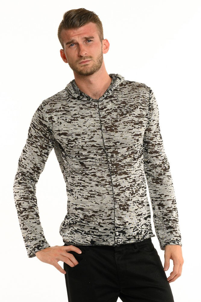 Cream & Black Birch Long Sleeve Men's Top