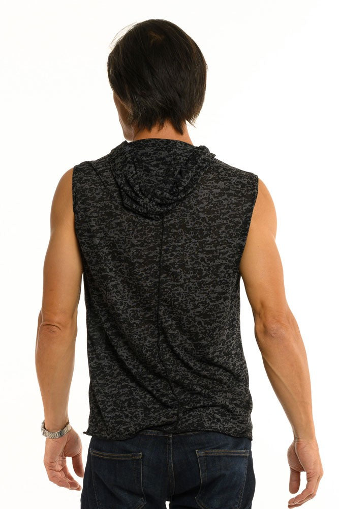 Black & Grey Aspen Burnout Sleeveless Men's Top