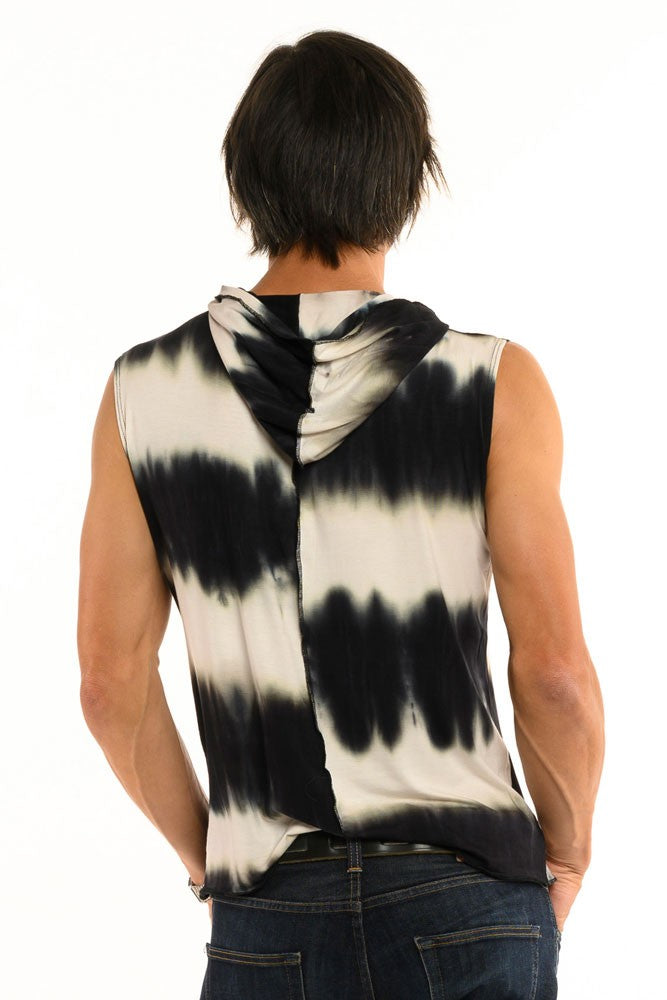Black & White Tiedye Sleeveless Men's Top