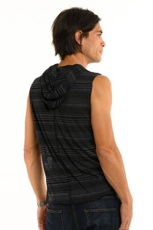 Dark Black & Grey Stripe Sleeveless Men's Top