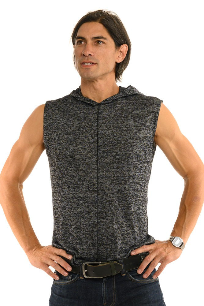 Grey Heather Knit Sleeveless Men's Top