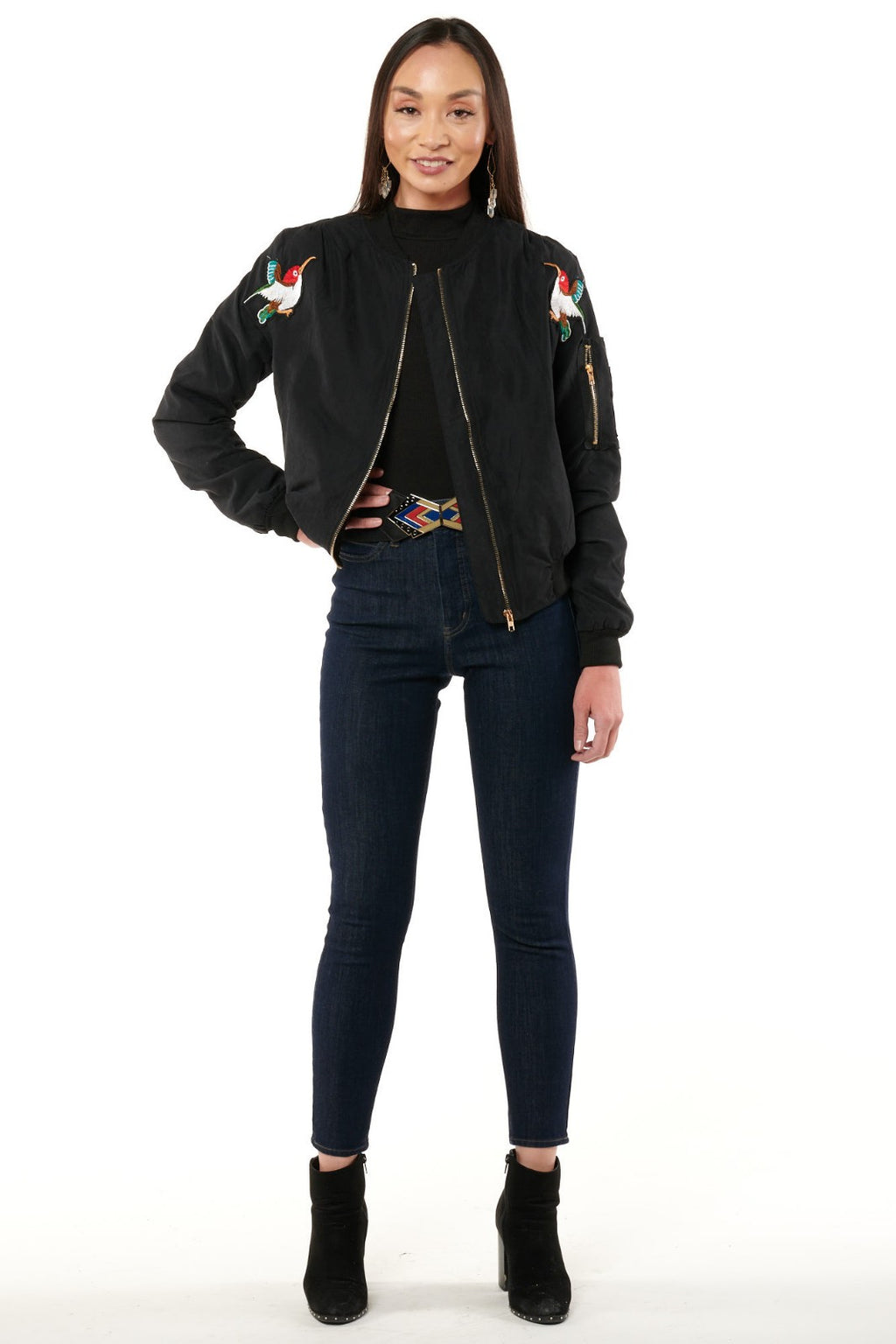 Navy Hummingbird Tiger Embridered Jacket