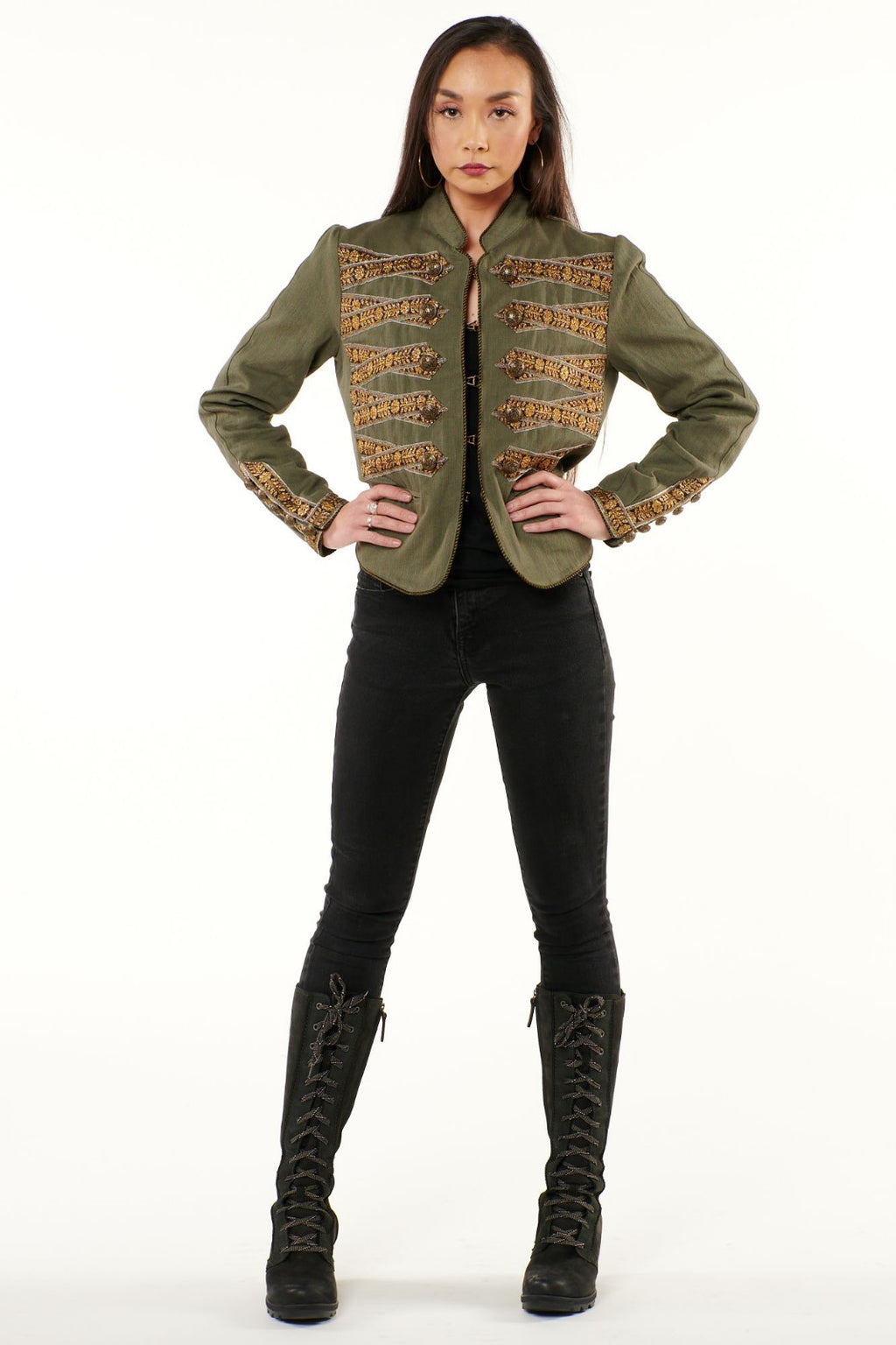 Olive Embellished Military Jacket