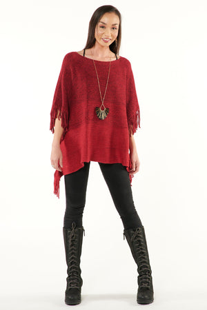 Red Wine Metallic Fringed Poncho Sweater