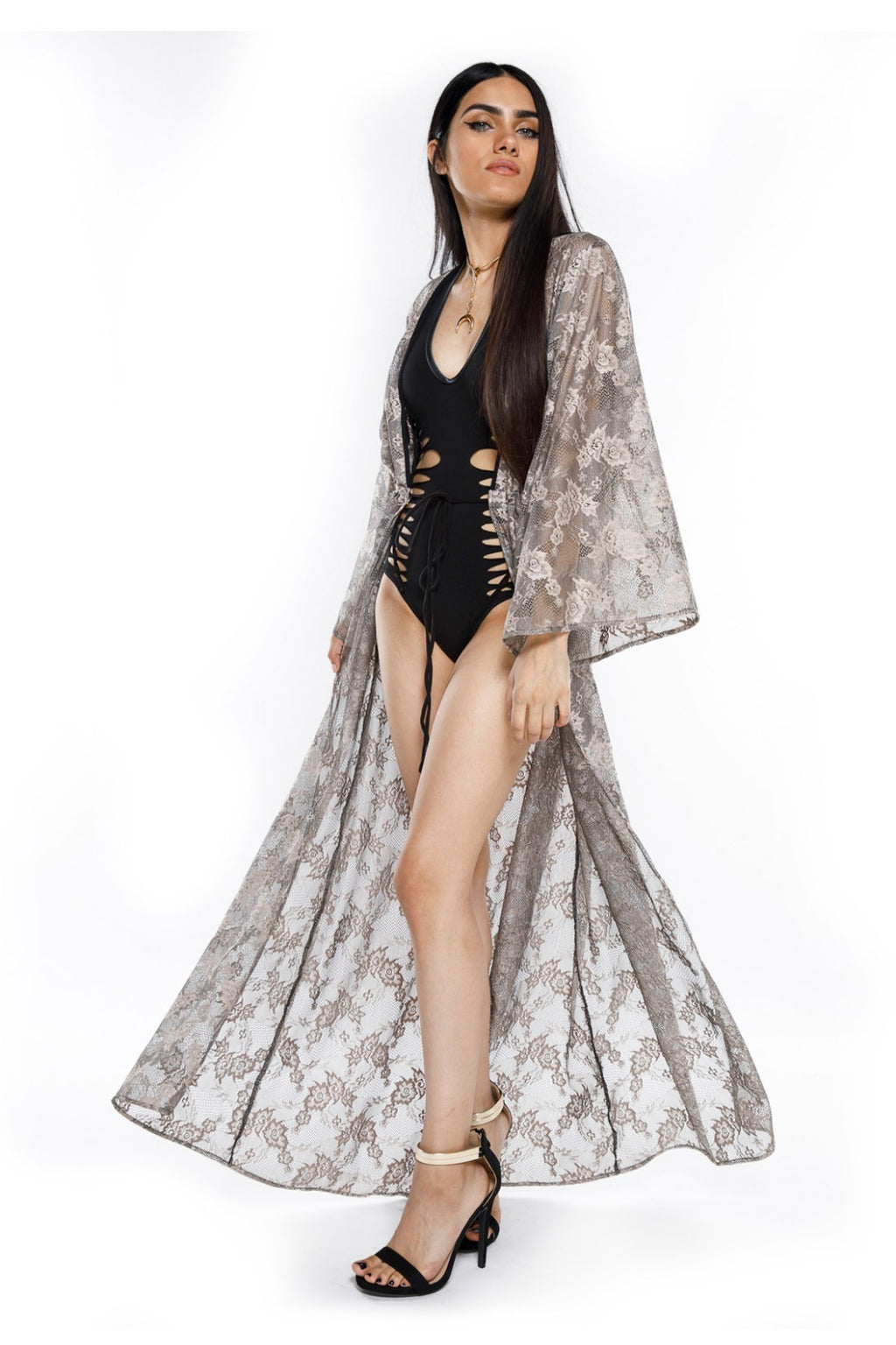 Cool Grey Lace Gemini Leisure Robe