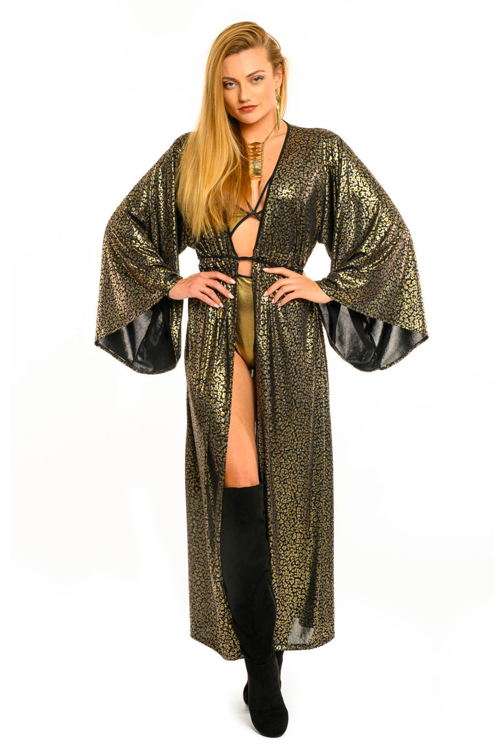 Mixed Metallic Cheetah Gemini Leisure Robe