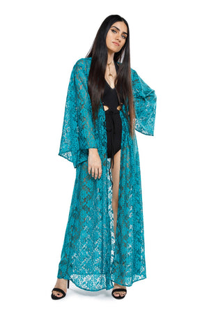 Teal Lace Gemini Leisure Robe