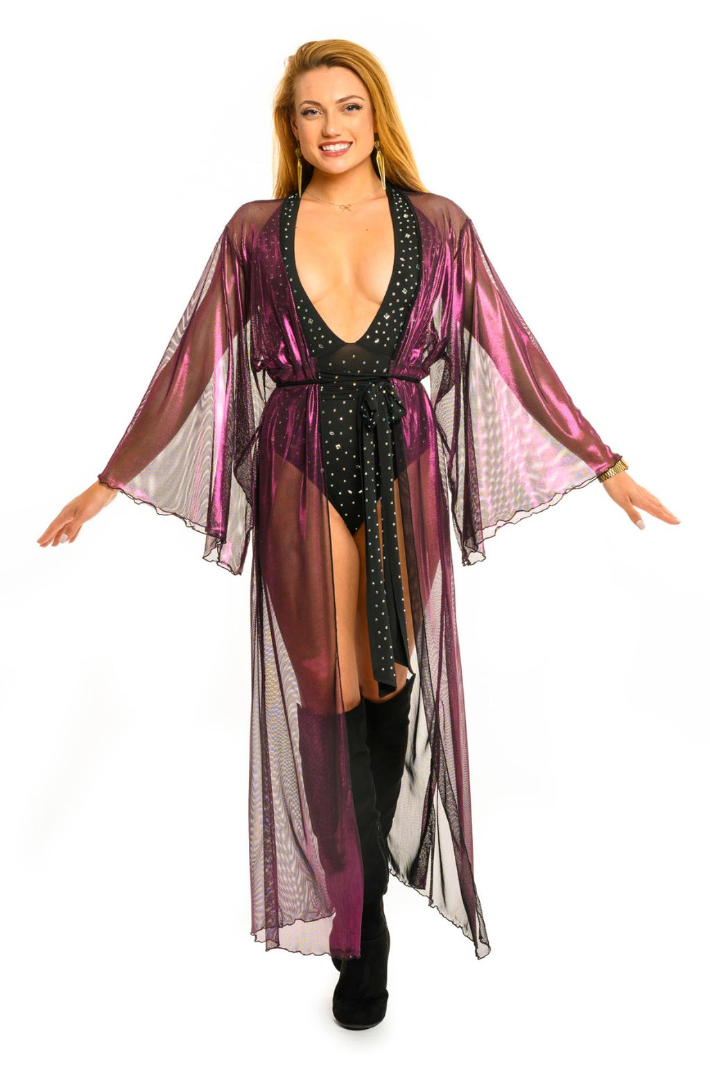 Fushia Metallic Mesh Gemini Leisure Robe