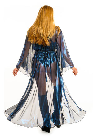 Blue Metallic Mesh Gemini Leisure Robe