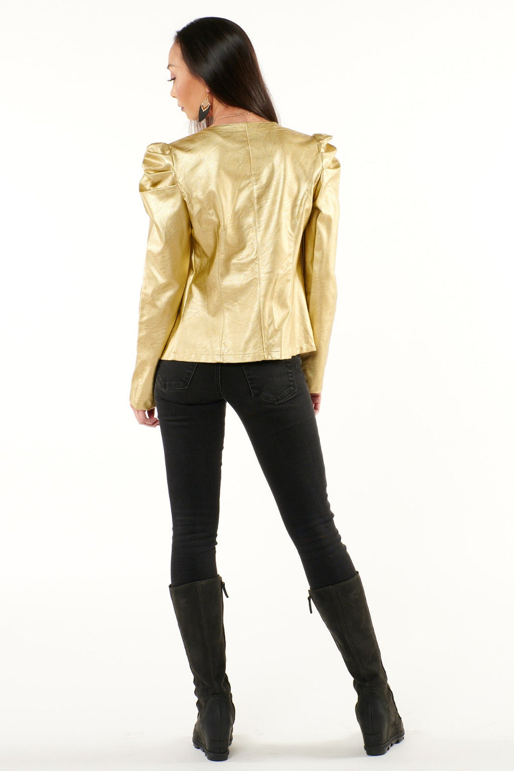 Solid Gold Pouf Shoulder Jacket