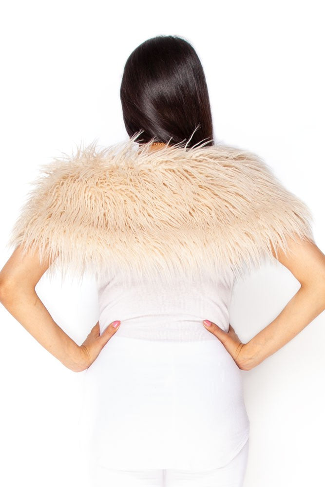 Cream Mongolian Faux Fur Stole
