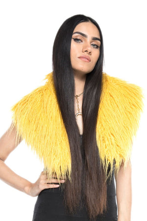 Yellow Mongolian Faux Fur Stole