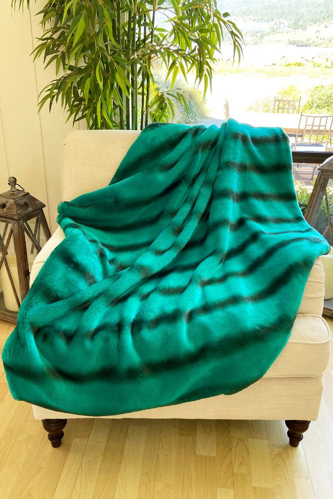 The Peacock Lux Faux Fur Blanket