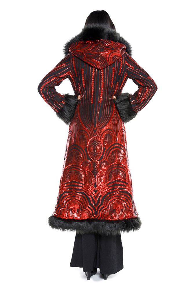 Deluxe Baroness Coat: Art Deco Black & Red Seqiun + Black Faux Fur Trim