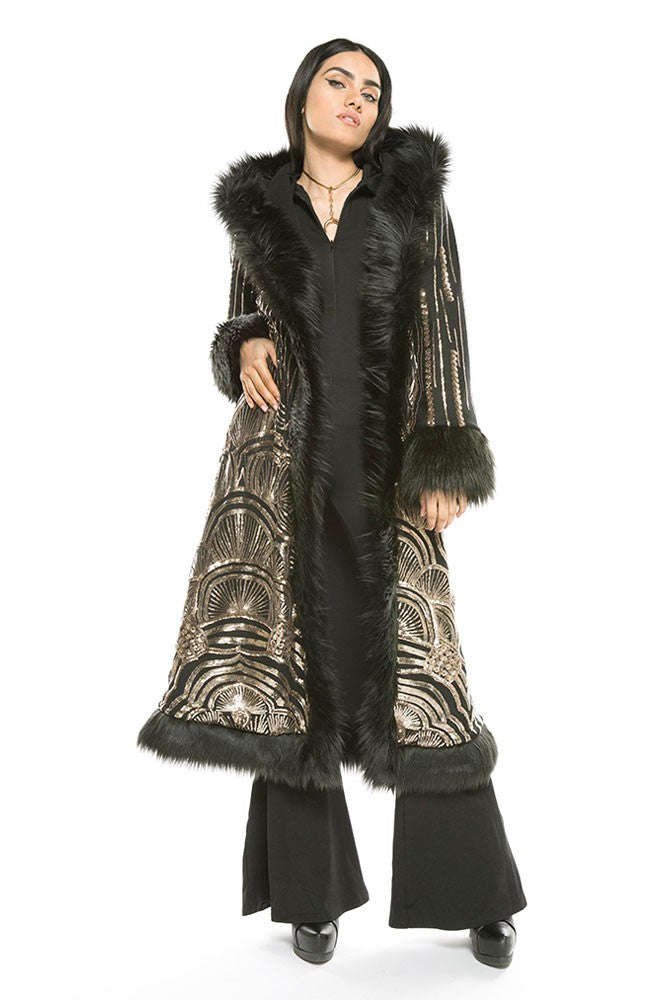 Deluxe Baroness Coat: Art Deco Black & Gold Seqiun + Black Faux Fur Trim