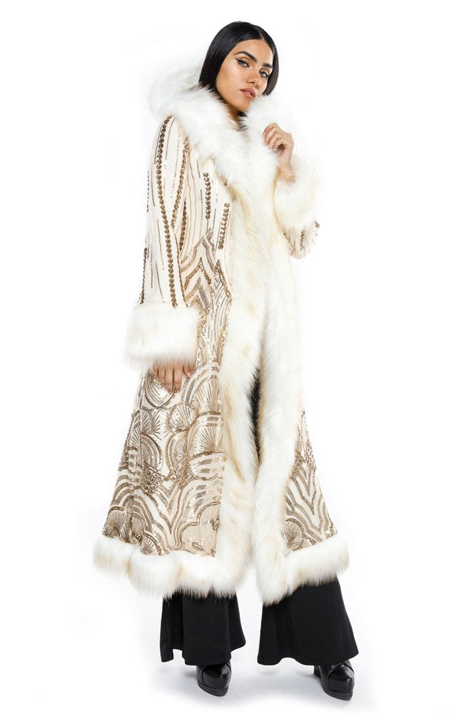 Deluxe Baroness Coat: Art Deco Gold Seqiun + Cream Faux Fur Trim