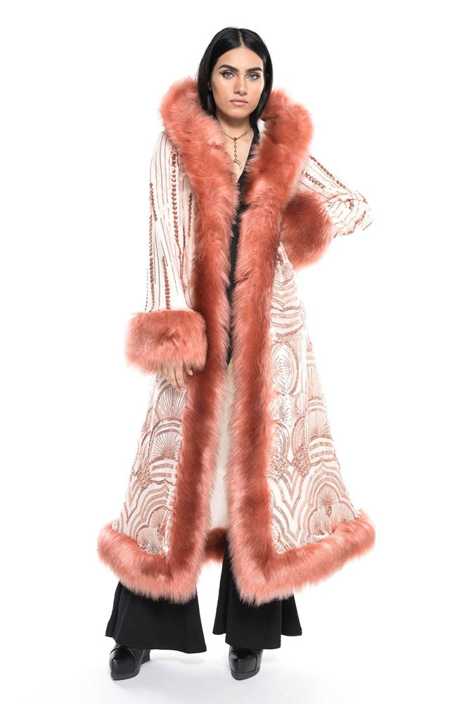 Deluxe Baroness Coat: Art Deco Rose Gold Seqiun + Rose Faux Fur Trim