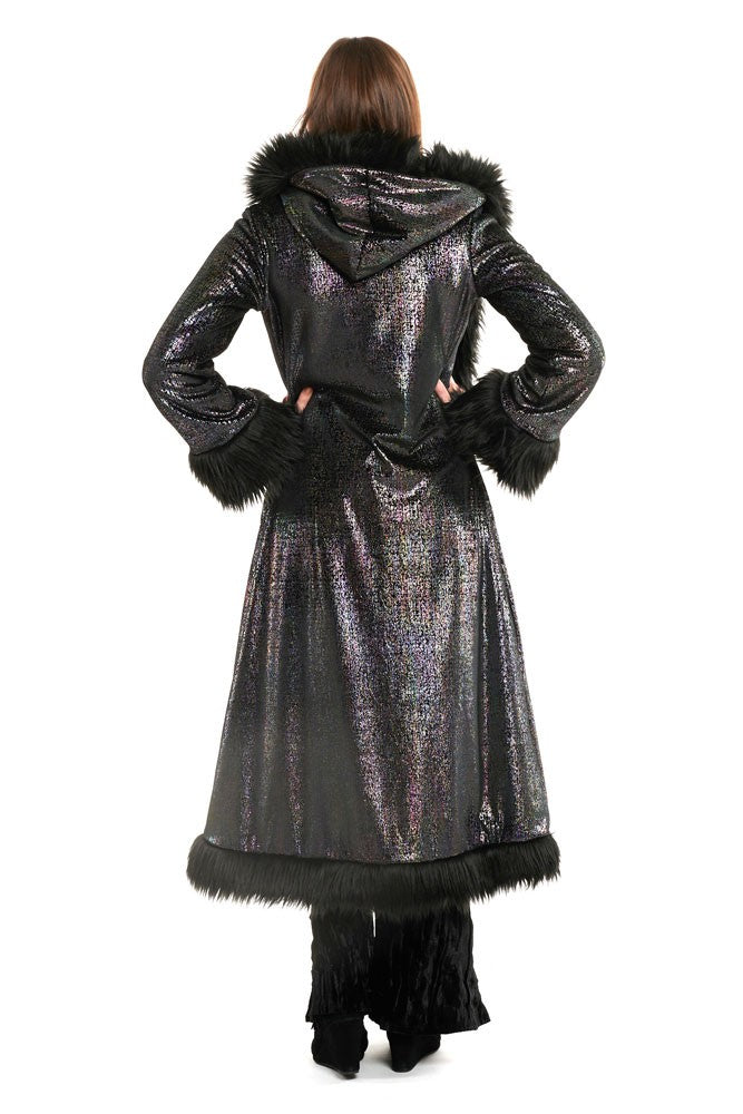Deluxe Baroness Coat: Digi Iridescent Print on Velvet + Black Faux Fur Trim