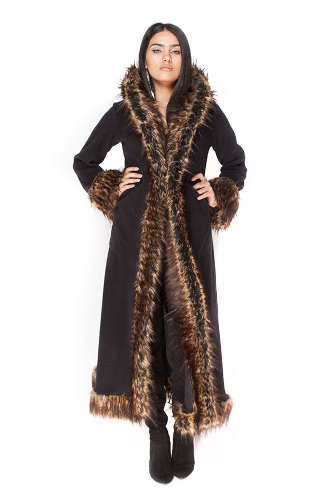 Classic Baroness Coat: Black Coat + Minx Faux Fur Trim