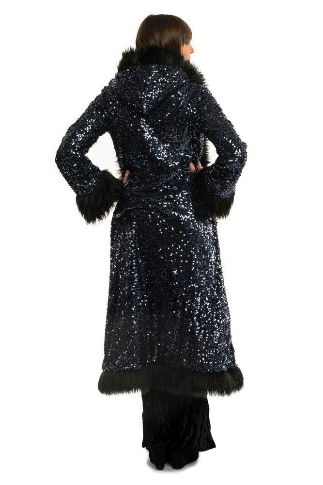Deluxe Baroness Coat: Blue Steel + Black Faux Fur Trim