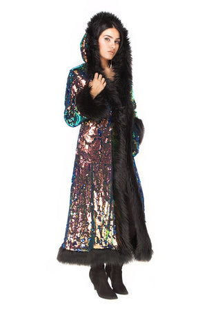 Deluxe Baroness Coat: Deep Sea Sequin + Black Faux Fur Trim