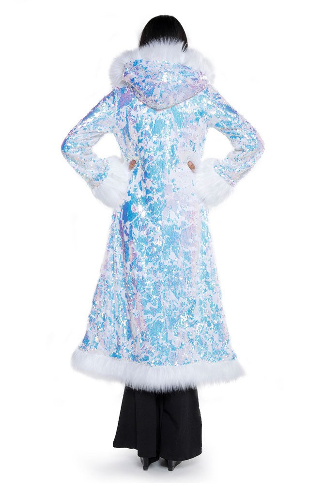 Deluxe Baroness Coat: Fearless Unicorn Seqiun + White Faux Fur Trim