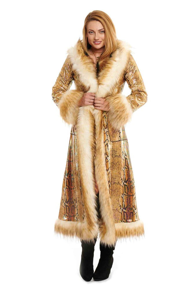 Deluxe Baroness Coat: Gold Python + Cream Mongolian Faux Fur Trim
