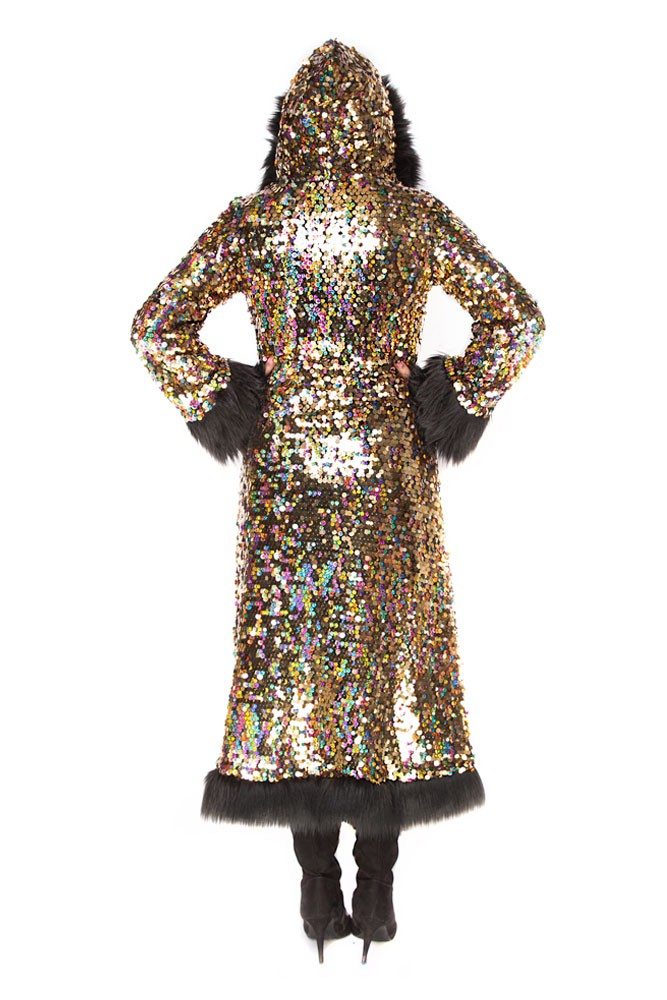 Deluxe Baroness Coat: Golden Rainbow + Black Faux Fur Trim