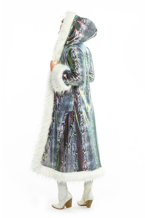 Deluxe Baroness Coat: Grey Python + White Plush Faux Fur Trim