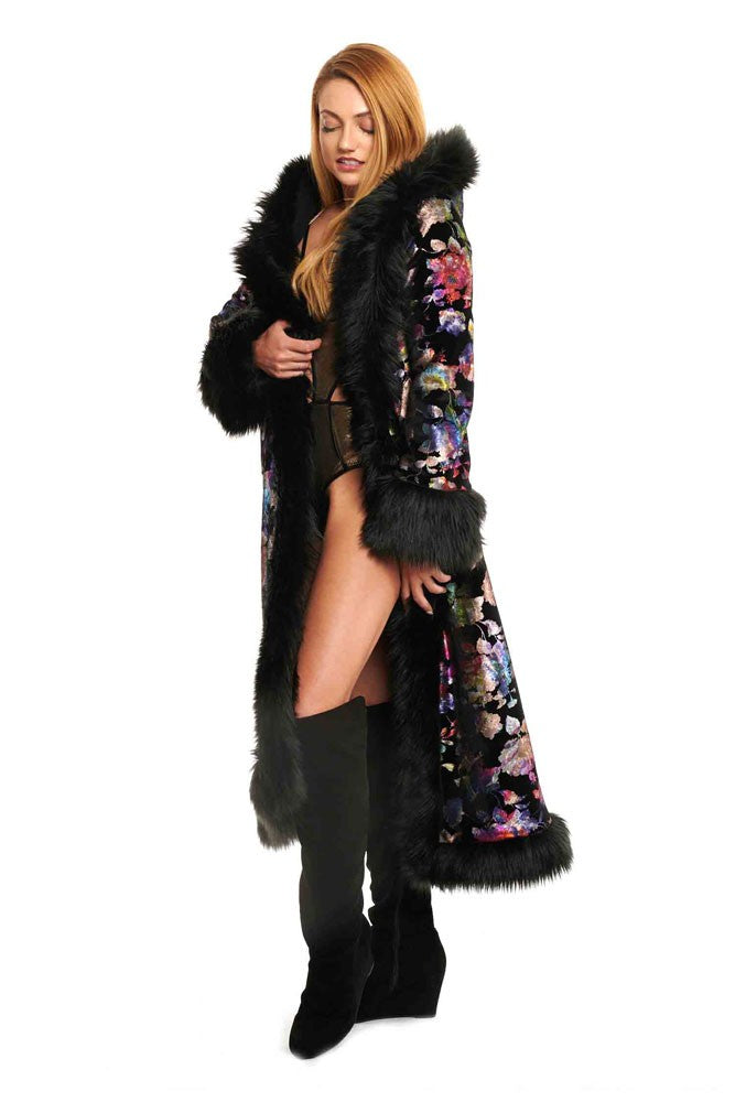 Deluxe Baroness Coat: Metalic Floral Print on Black Velvet + Black Faux Fur Trim