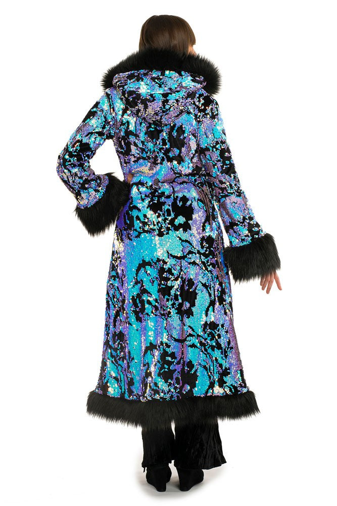 Deluxe Baroness Coat: Midnight Magic + Black Faux Fur Trim