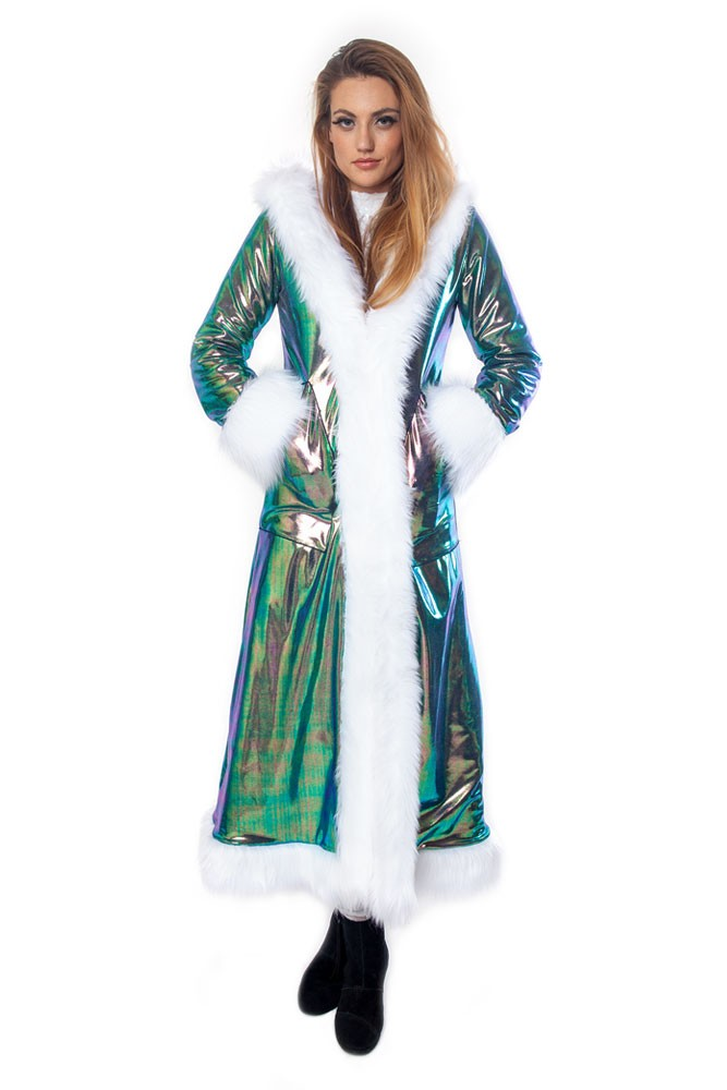 Deluxe Baroness Coat: Peacock Iridescent + White Faux Fur Trim