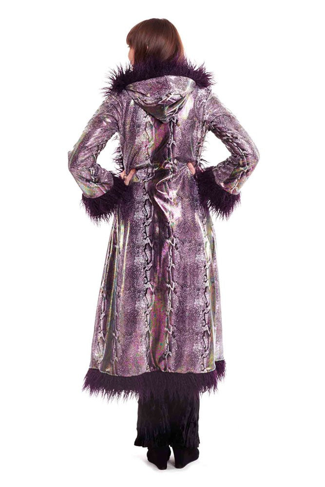 Deluxe Baroness Coat: Purple Python + Purple Mongolian Faux Fur Trim
