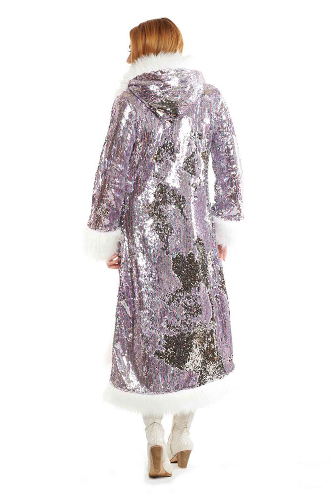 Deluxe Baroness Coat: Silver Candy Flip + White Faux Fur Trim
