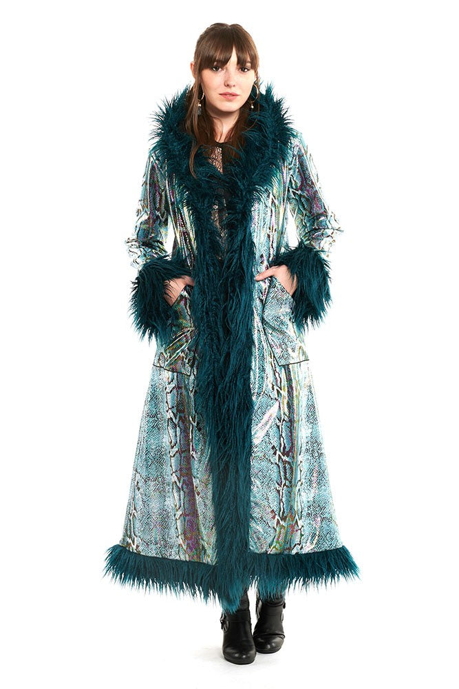 Deluxe Baroness Coat: Teal Python + Teal Mongolian Faux Fur Trim