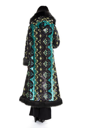 Deluxe Baroness Coat: Teal Aztec Sequin + Black Faux Fur Trim