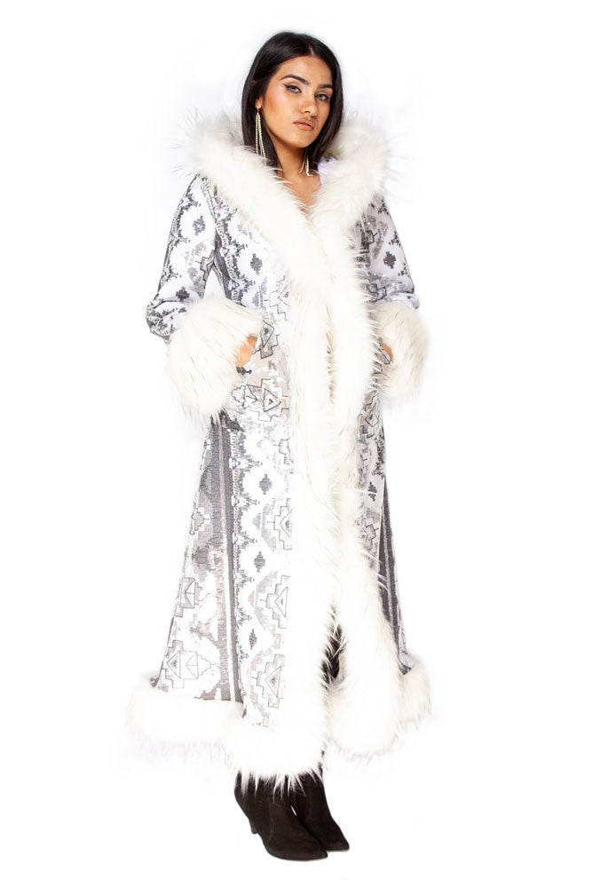 Deluxe Baroness Coat: White Aztec Sequin + Plush White Faux Fur Trim