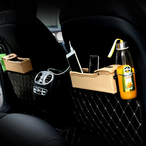 Leather Car Storage Boxe Slots, Cup Holders, etc.