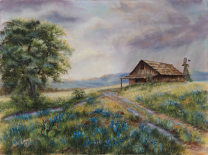 BARN IN THE RAIN-original oil painting on canvas