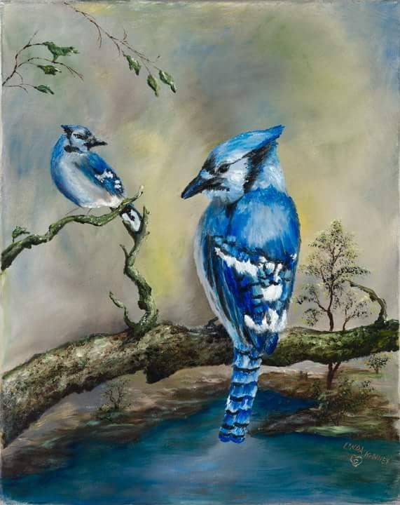 BLUE JAYS IN THE FOREST-High-resolution Giclee Print
