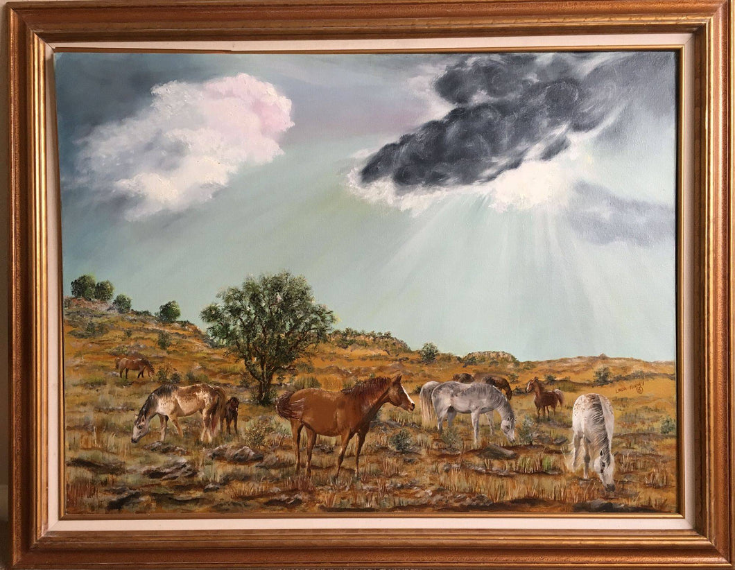 HORSES ON THE PRAIRIE-original oil painting on canvas