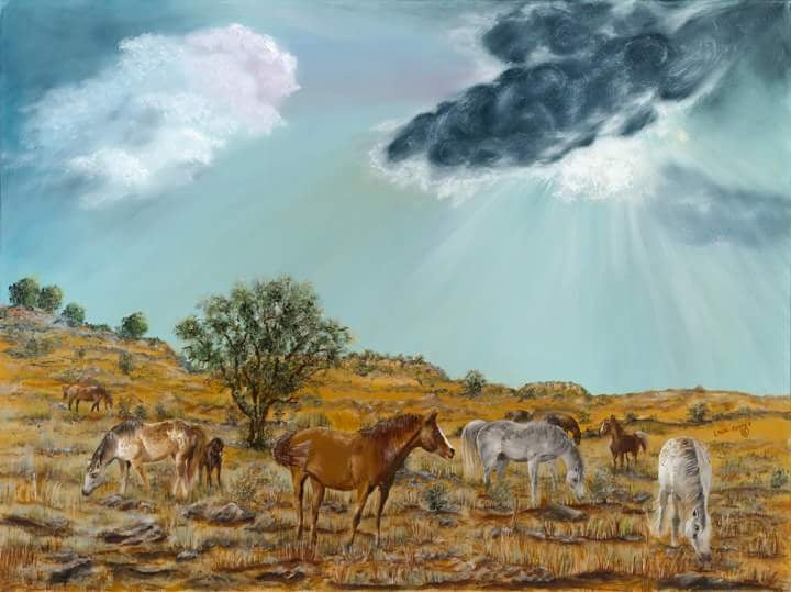 HORSES ON THE PRAIRIE-Gallery wrapped canvas