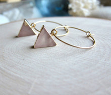 Load image into Gallery viewer, Rosalind Rose Quartz Hoops
