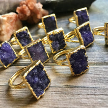 Load image into Gallery viewer, Purple Rain Druzy Ring