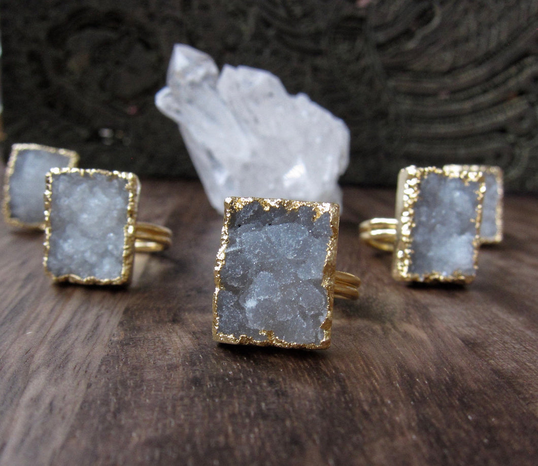 Polar Ice Druzy Ring